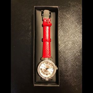 AVON🌺 RED WATCH WITH RHINESTONES🌺 NEW